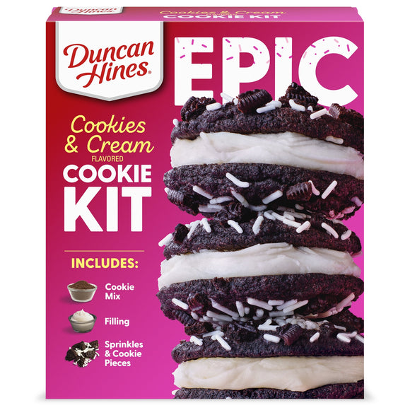 Duncan Hines Epic Cookies and Cream Cookie Mix Kit (22.05oz)