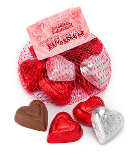 Palmer Valentine Chocolate Hearts in Mesh Bags (3.3oz)