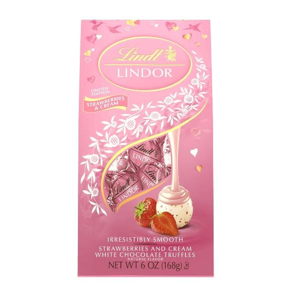 Lindt Lindor Valentine's Strawberries and Cream White Chocolate Truffles (6oz)