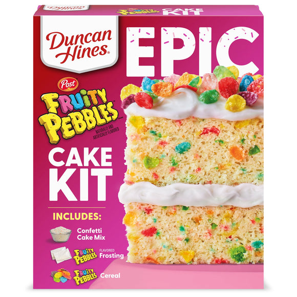 Duncan Hines Epic Fruity Pebbles Cake Mix Kit (28.5oz)