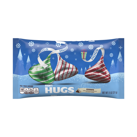 Hershey's Kisses Hugs Milk Chocolate & White Creme, Holiday Candy (11oz)