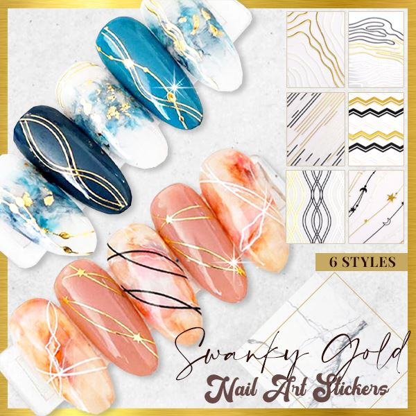 Swanky Gold 3D Nail Art Stickers
