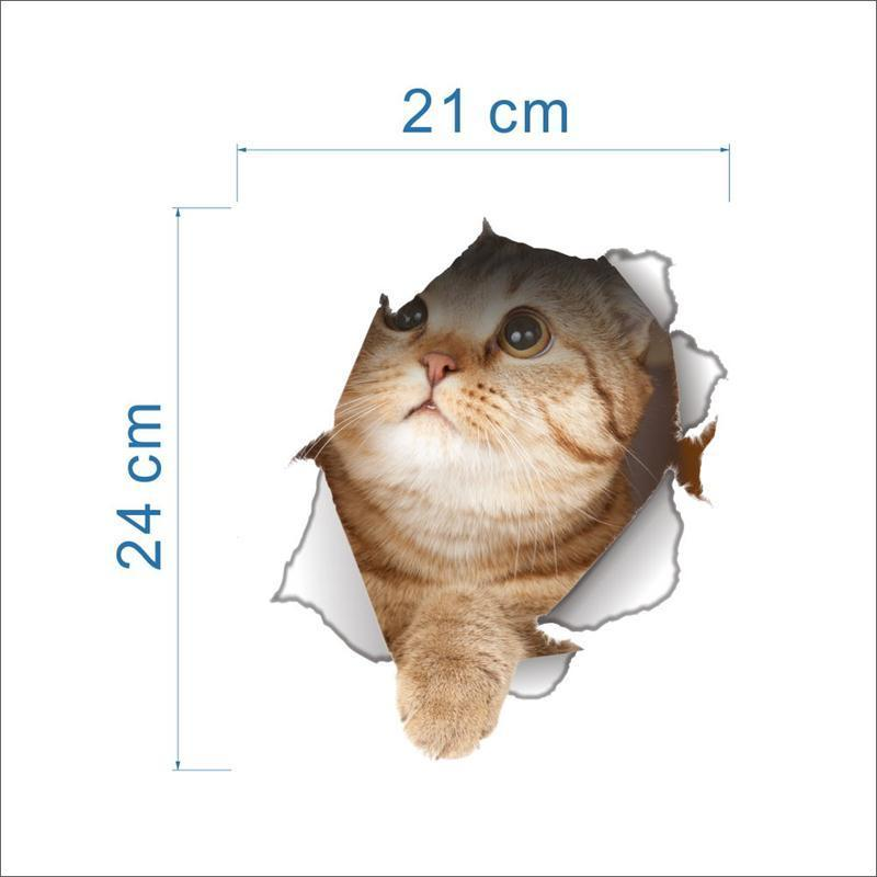 3D Vivid Cat Bathroom Toilet Sticker