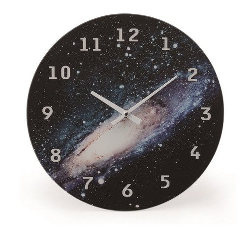 Cosmic glass clock wall Galaxy COGLWCGA