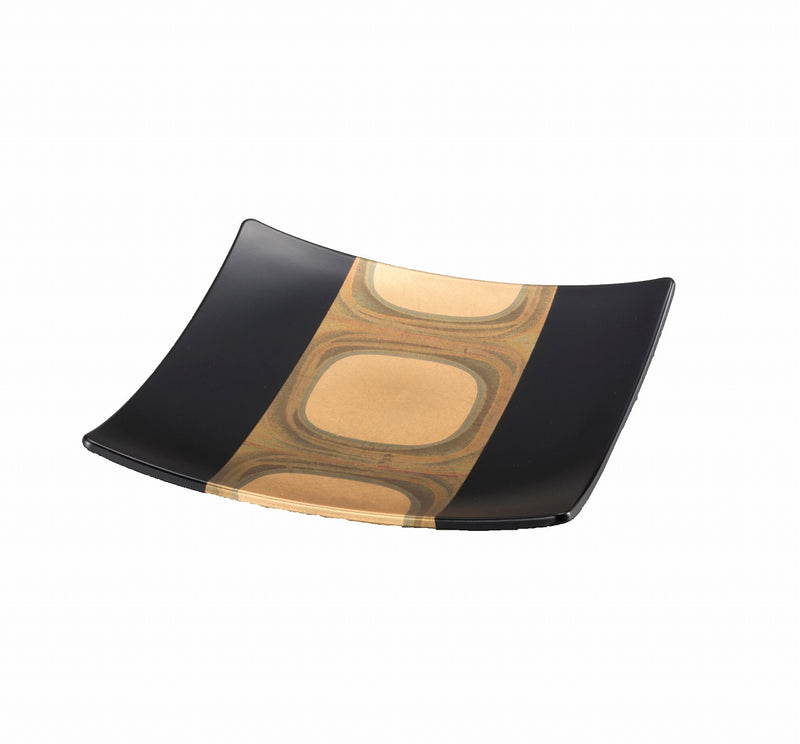 Ancient leaf square plate black L A091-06005