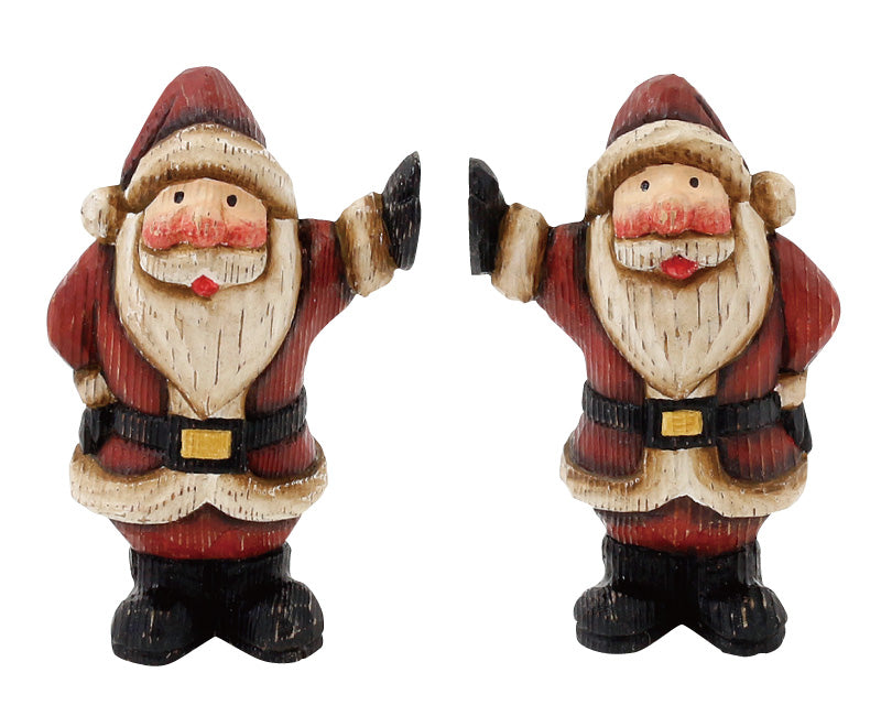 Wooden Noel High Touch Santa S/2