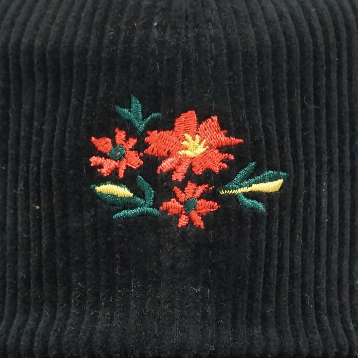 Men's and Women's Corduroy Baseball Cap Spring, Autumn, Winter with Flower Embroidery Keys 1 Pair