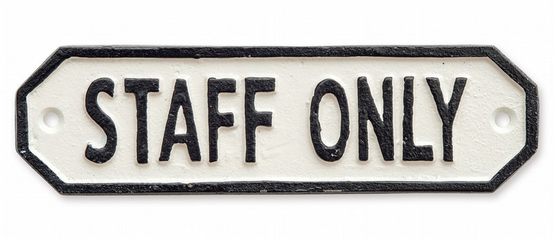 Sign Plate STAFF ONLY White 63587