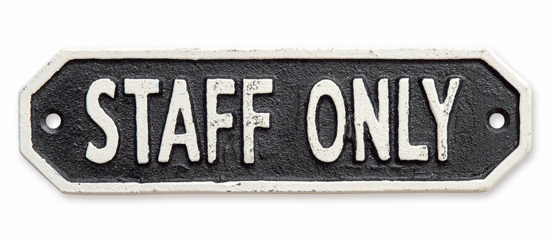 Sign Plate STAFF ONLY Black 63588