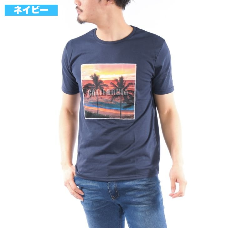 Short Sleeve T-Shirt Men Crew Neck Photo Print Logo Embossed Spring Summer 1-Pack