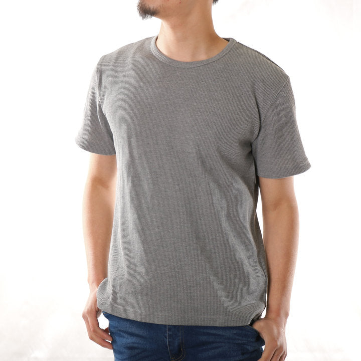 T Shirt Men Short Sleeve Short Sleeve T Shirt Men T Shirt Cut & Sewn Tops Waffle Thermal Crew Neck 1 Pcs