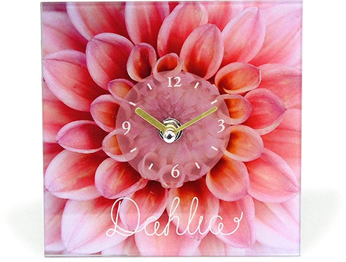 CL043894 Glass art picture desk clock Flower J