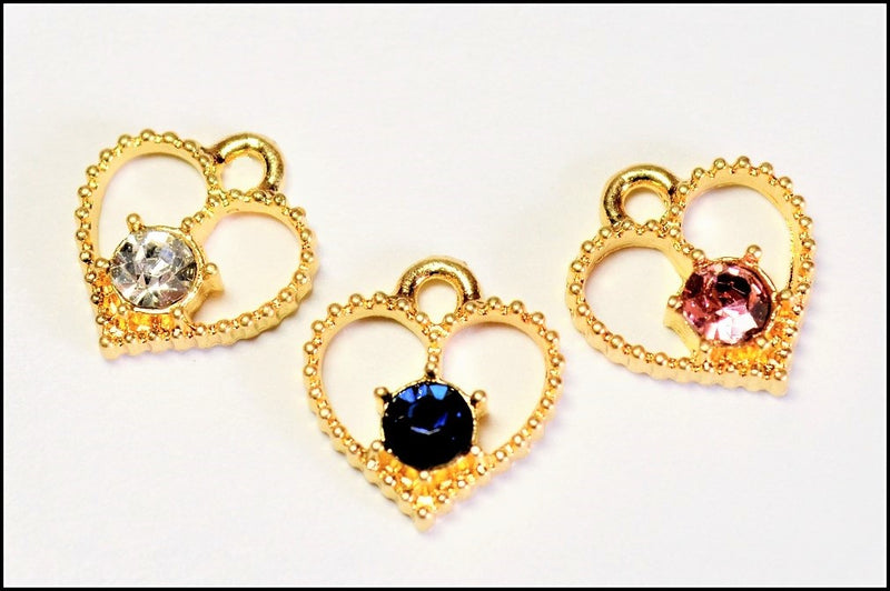 Heart Shape] Charms with Stone Seats Class A Glass Stones CHANEL STONE ROUND PARTS DECO PARTS 10pcs per case