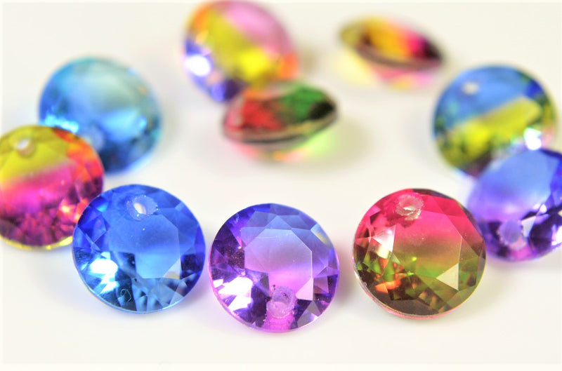 Suncatcher Glass Beads Gradient Color Glass Beads Assorted Pairs Set of 10 per case