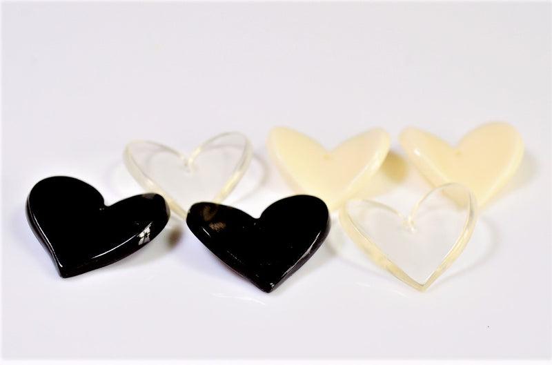 Acrylic Heart Parts, Deco Parts, Trend Parts (both sides stand up), 10 pieces per case