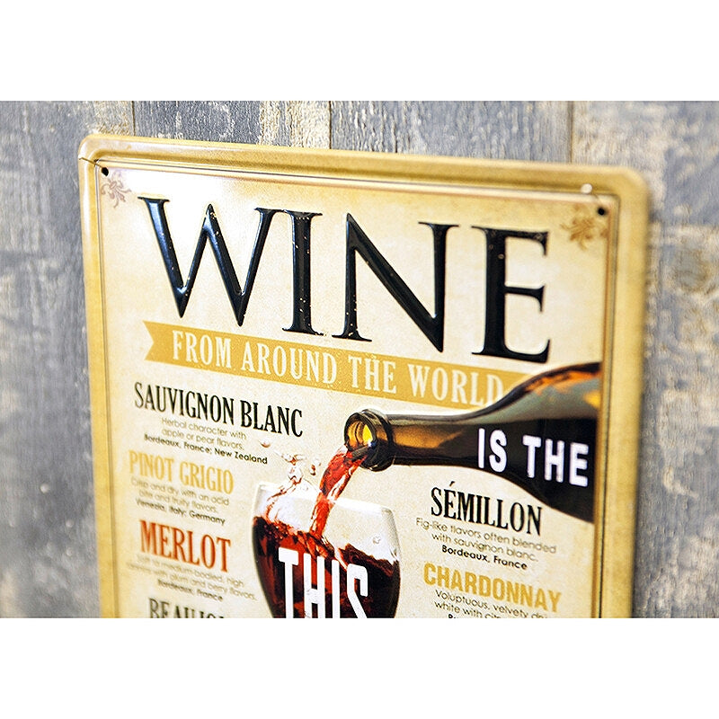 Z14 Antique Metal Plate S WINE THIS