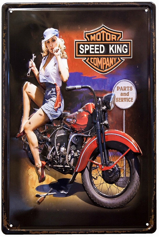 Z233 Antique Metal Plate S SPEED KING GIRL