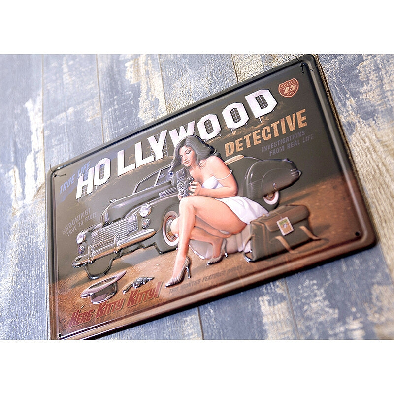Z263 Antique Metal Plate S HOLLYWOOD DETECTIVE