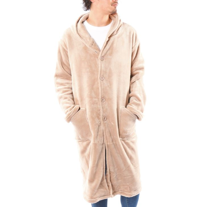 Wearing Blanket Men's Micro Fleece Velour Hooded Gown Women's Pair Unisex 1 Pcs