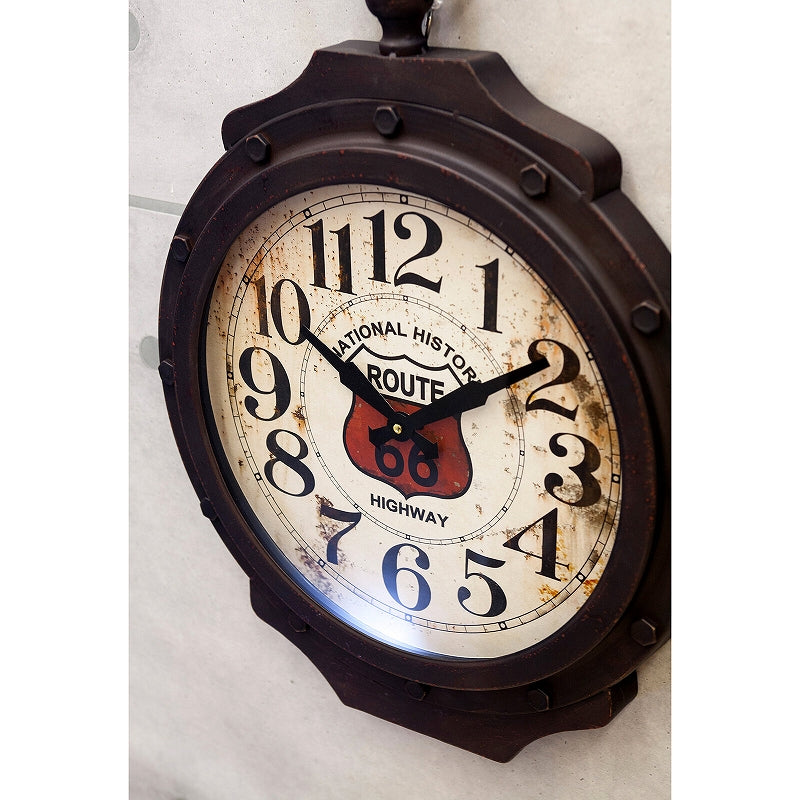HLCZ6401 Antique Grand Clock ROUTE 66 BLACK