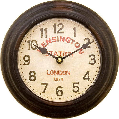 PSC110B Prestige Clock Round KENSINGTON STATION BLACK