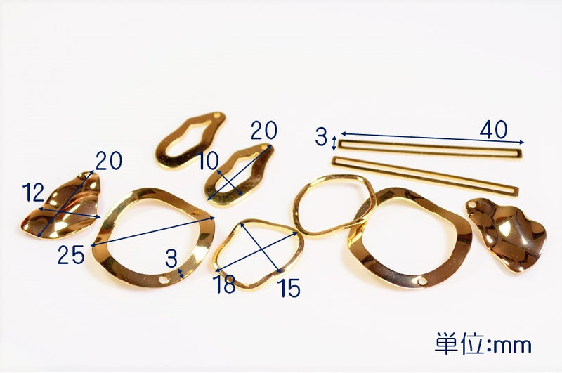 High quality copper] assorted pair set geometric charm basic metal fittings deco parts wave metal parts 1 case 1 piece