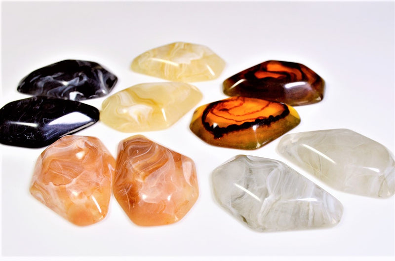 Retro style acrylic marble parts, deco parts, trendy parts, assorted pair set, 10 pieces per case