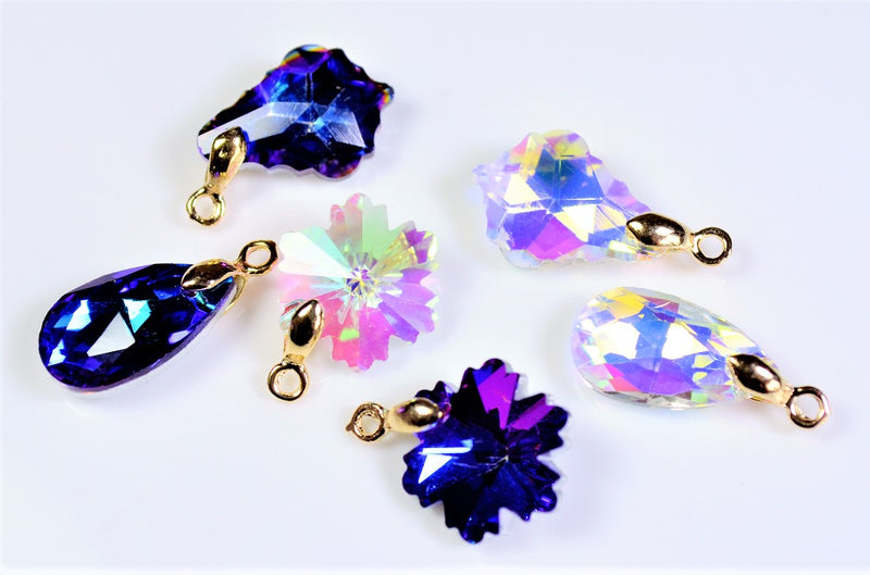 Suncatcher glass beads with metal fittings, transmissions, snow drop leaf, 10 per case
