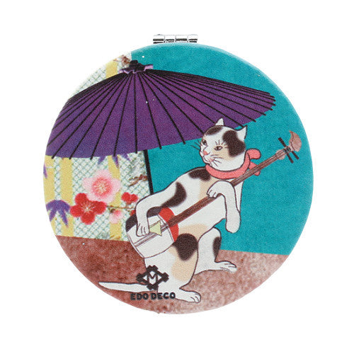 4008788-01 Stylish cat compact mirror, round, with Japanese umbrella