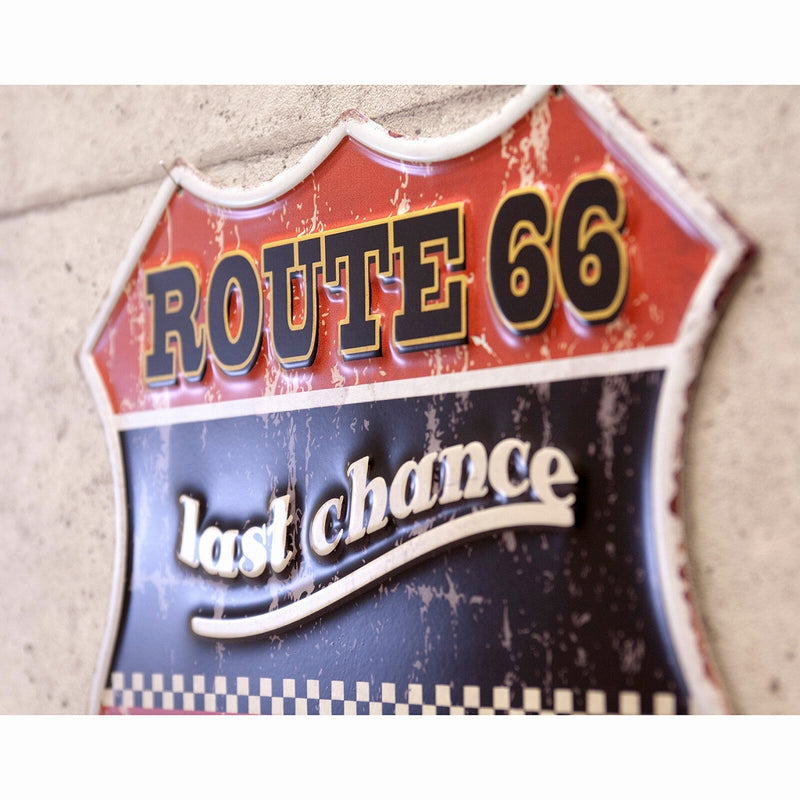 Antique Embossed Plate ROUTE66 66 Last Chance GAS MP19005