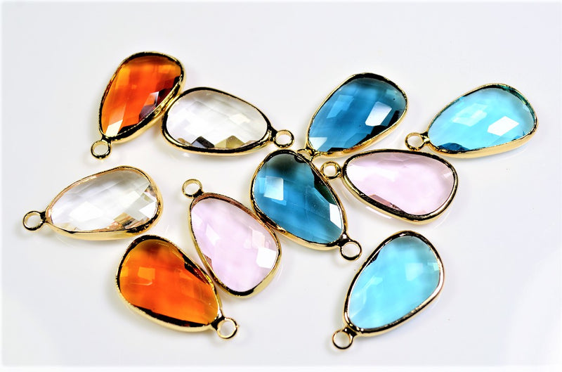 Trend Parts: Glass Jewelry Chanel Stone Pendants - Assorted Pair Set - 10 pieces per case