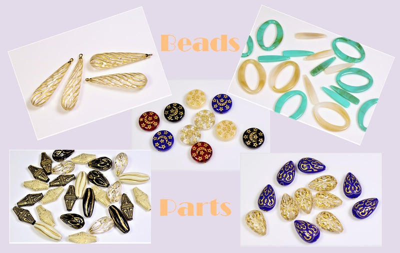 Acrylic Beads and Parts] Antique style beads, 10 pieces per case