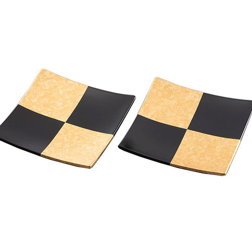 Checkered square plate, gold and black, S 2pcs A191-06018