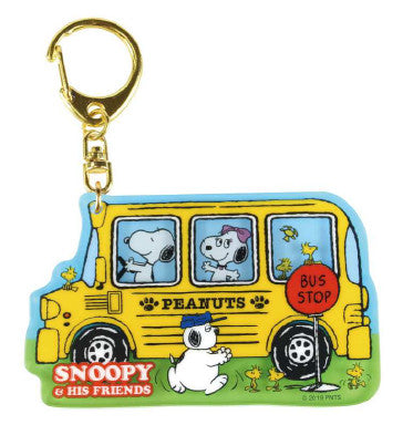 Snoopy Layered Acrylic Keychain Yellow Bus 506373