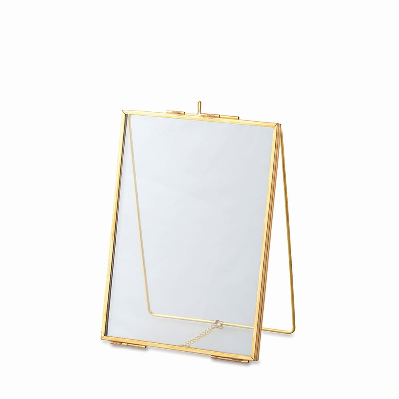 22612 Glass frame stand single gold