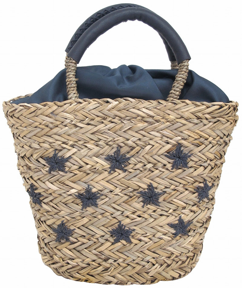 water plant bag with star embroidery navy navy 48550