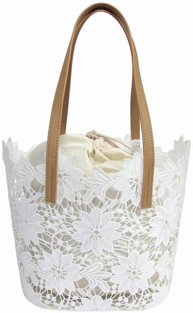 Lace bag, large flower, white 72622
