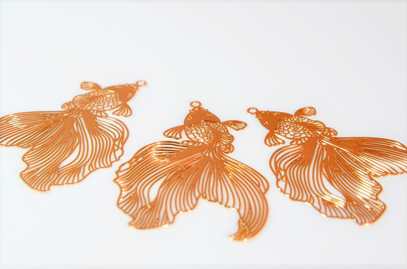 Ultra-thin, ultra-fine] Goldfish charm, goldfish parts, summer accessories, trendy parts, deco parts, 99% copper, high quality, 10 pieces per case