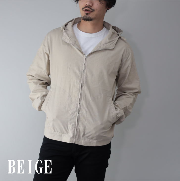 Hoodie Men Cotton Linen Stretch Linen Cotton Zip Up Full Zip 1 Pcs