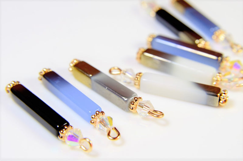 Glass stick charms, trendy parts, gradation parts, 10 pieces per case