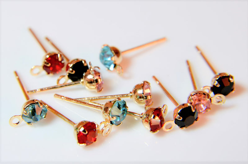 [Assorted Pair Set] Pierced earrings, basic metal fittings, using grade A glass stones, 40 pieces per case