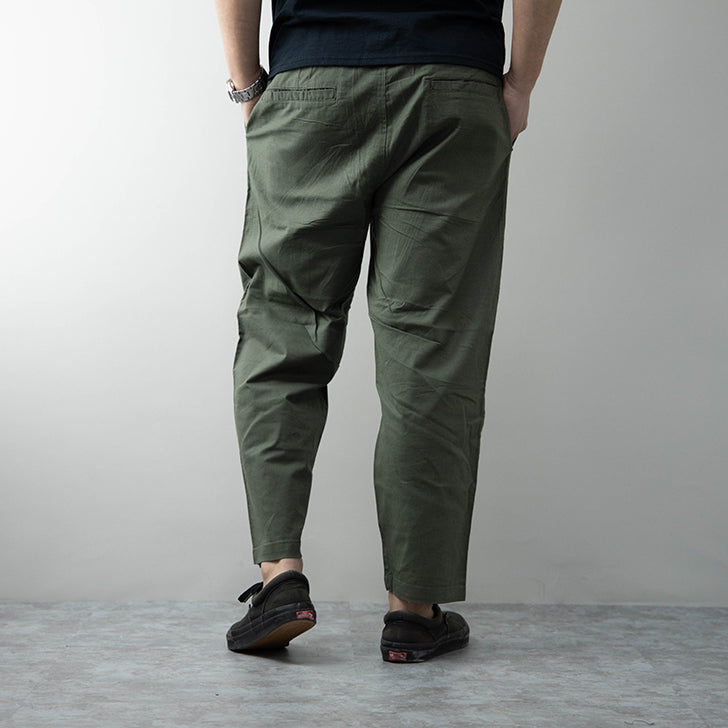 Wide Tapered Pants Men's Cotton Linen Stretch Ankle Length Ankle Cut Easy Pants 1 Pcs