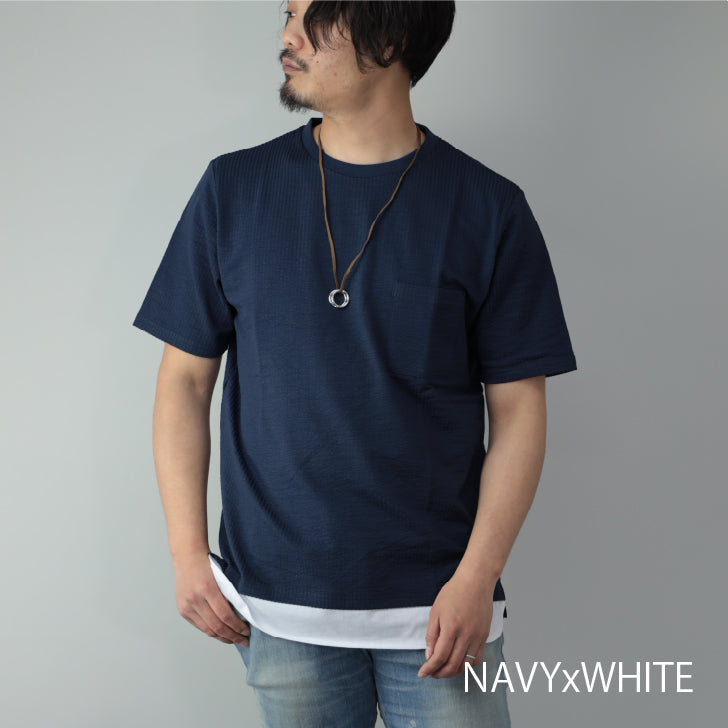 Short Sleeve T-Shirt Men Seersucker with Necklace Crew Neck Pocket Faux Layered 1pc