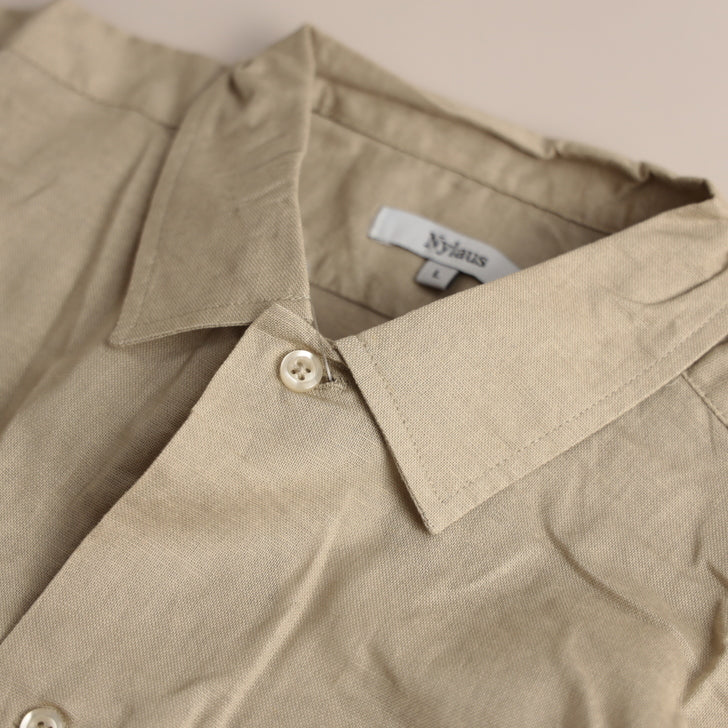 Shirt Men Short Sleeve Cotton Linen Stretch Gauze Military Shirt Work Shirt 1-Piece Set