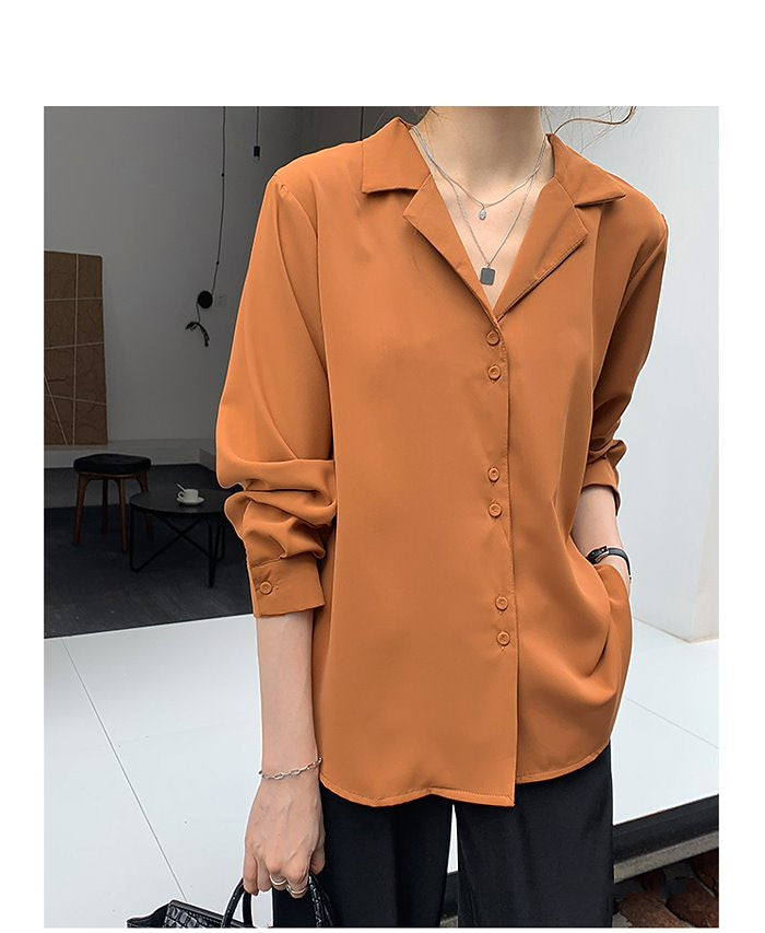 COCOMOMO Solid Color Shirt Long Sleeve Lightweight Chiffon Women Casual Tops 1Pc