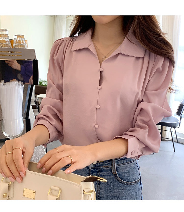 COCOMOMO Solid Color Long-Sleeved Shirt Women's Tops Casual 1Pc