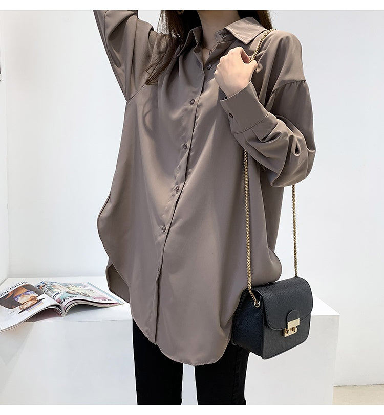 COCOMOMO Slit Solid Color Shirt Tops Women's High Quality Casual 1Pc