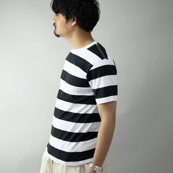 T-Shirt Men Short Sleeve Crew Neck Striped Cut & Sew Room Wear One Mile Wear 1 Pcs
