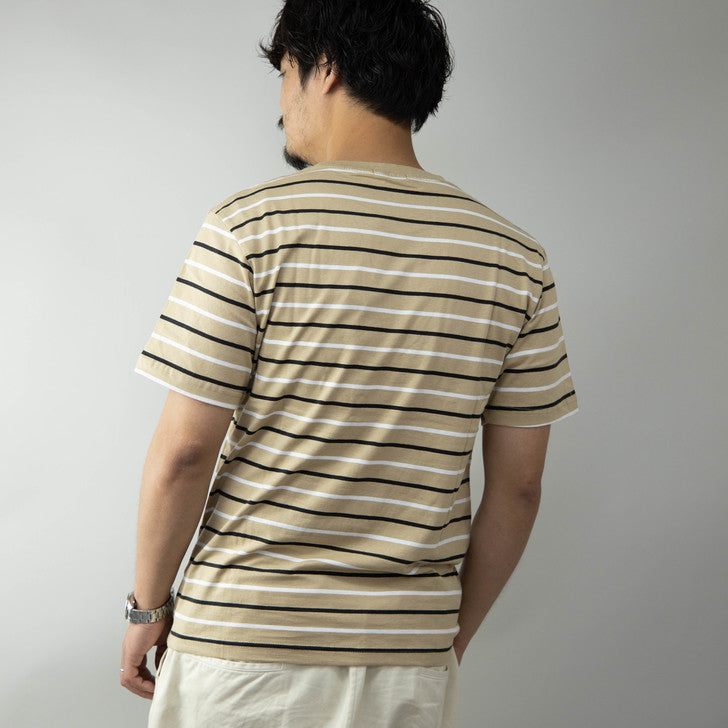 Short Sleeve Crew Neck Striped T-Shirt for Men Room Wear One Mile Wear 1-Pack