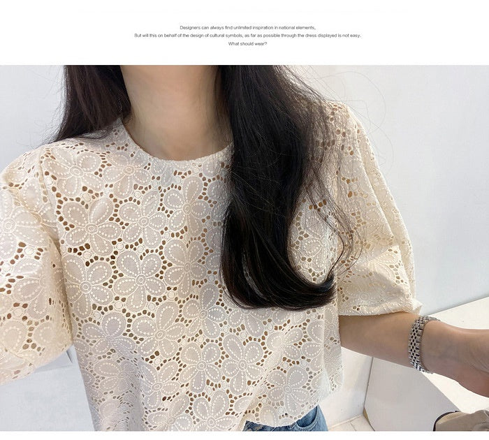 COCOMOMO Balloon Sleeve Shirt Embroidery Short-Sleeved Blouse Floral Round Neck Retro Stylish Elegant Tops 1Pc